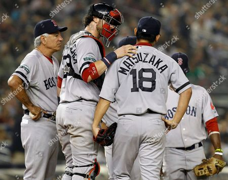 Bobby Valentine, Jarrod Saltalamacchia, Daisuke Matsuzaka Boston Red Sox manager Bobby Valentine, left, waits for a pitcher coming in from the bullpen as catcher Jarrod Saltalamacchia pats starting pitcher Daisuke Matsuzaka (18) after Matsuzaka was pulled in the third inning of their baseball game against the New York Yankees at Yankee Stadium in New York