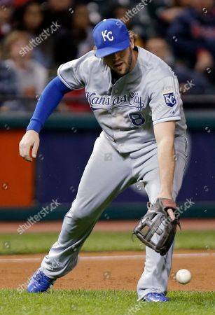 Mike Moustakas Kansas City Royals third baseman Mike Moustakas misplays a ground ball by Cleveland Indians' Russ Canzler in the fourth inning of a baseball game, in Cleveland. Canzler reached first safely on the error