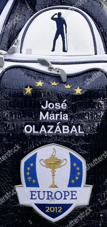 An image of Seve Ballesteros is seen on the bag of European team captain Jose Maria Olazabal during the Ryder Cup PGA golf tournament, at the Medinah Country Club in Medinah, Ill