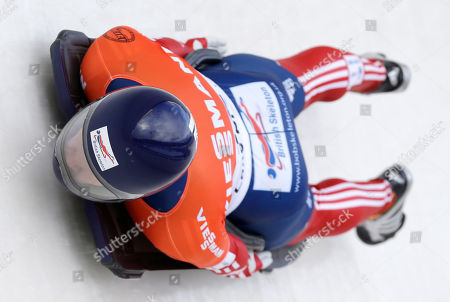 Stock Image of Donna Creighton Great Britain's Donna Creighton takes her second heat in the women's skeleton World Cup competition, in Lake Placid, N.Y