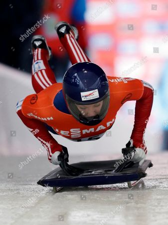 Stock Image of Donna Creighton Great Britain's Donna Creighton starts her first heat in the women's skeleton World Cup competition, in Lake Placid, N.Y