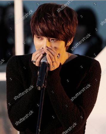 """Kim Jaejoong South Korean singer and actor Kim Jaejoong speaks at an event to promote his move """"Code Name: Jackal"""" during the Busan International Film Festival in Busan, South Korea"""