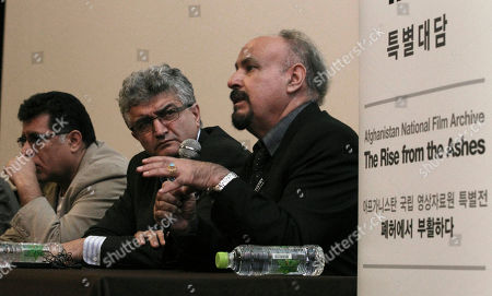 Latif Ahmadi, Atiq Rahimi, Siddiq Barmak Afghanistan's directors, from right, Latif Ahmadi, Atiq Rahimi and Siddiq Barmak, attend a press conference about their country's movies at the Busan International Film Festival in Busan, South Korea