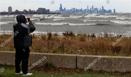 Editorial picture of Superstorm Lake Michigan Waves, Chicago, USA