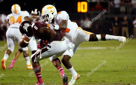 Malcolm Johnson, Eric Gordon Mississippi State tight end Malcolm Johnson (6) has the ball knocked away by Tennessee defensive back Eric Gordon (24) in the third quarter of their NCAA college football game in Starkville, Miss., . No. 19 Mississippi State won 41-31