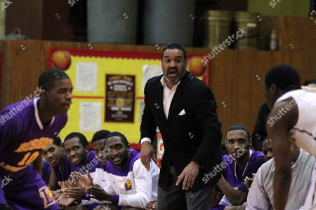 Ed Gonzalez Bishop Loughlin's coach Rudy King coaches against Christ the King during a high school basketball game on in Brooklyn, NY. The Christ the King Royals won the game 72-71