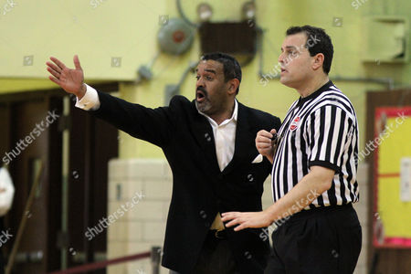 Ed Gonzalez Bishop Loughlin head coach Ed Gonzalez argues with a ref during a high school basketball game on in Brooklyn, NY. The Christ the King Royals won the game 72-71