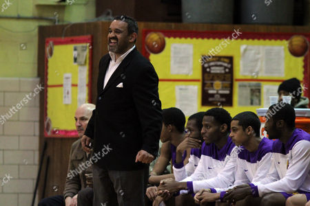 Ed Gonzalez Bishop Loughlin head coach Ed Gonzalez coaches against Christ the King during a high school basketball game on in Brooklyn, NY. The Christ the King Royals won the game 72-71