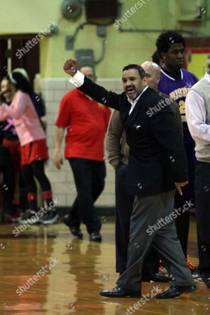 Ed Gonzalez Bishop Loughlin's coach Ed Gonzalez complains about a no call in the final seconds against Christ the King during a high school basketball game on in Brooklyn, NY. The Christ the King Royals won the game 72-71