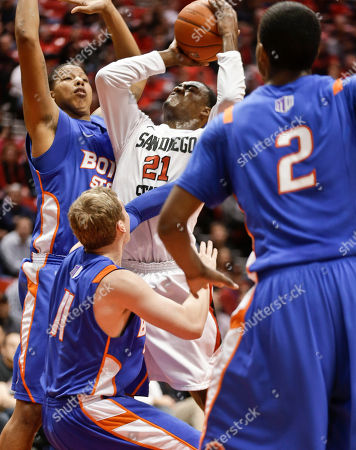 Stock Picture of Jamaal Franklin, Ryan Watkins, Jeff Elorriaga, Derrick Marks San Diego State guard Jamaal Franklin gets off a shot for a score amid the defense of Boise State's Ryan Watkins, left, Jeff Elorriaga, center, and Derrick Marks (2) during the first half of an NCAA college basketball game, in San Diego