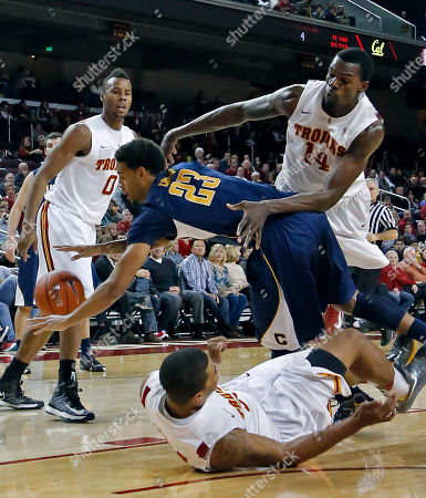 Allen Crabbe, Dewayne Dedmon, Eric Wise, Renaldo Woolridge California guard Allen Crabbe (23) tangles with Southern California forward Dewayne Dedmon (14), forward Eric Wise (34), below, and forward Renaldo Woolridge (0) in the first half of an NCAA college basketball game in Los Angeles on . California won 72-64