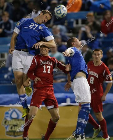 Brent Kallman, Jacob Bushue,Brendan Hines-Ike,Nikita Kotlov Creighton's Brent Kallman (27) battles for the ball with Indiana's Jacob Bushue (17) in the first half of a NCAA College Cup men's championship semifinal soccer match at Regions Park, in Hoover, Ala. At right is Creighton's Brendan Hines-Ike, second from right, and Indiana's Nikita Kotlov