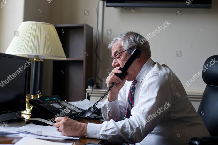 Barney Frank Shows Rep. Barney Frank, D-Mass., the nation's most prominent gay politicians, talking on the phone as he speaks about his impending retirement during an interview with The Associated Press on Capitol Hill in Washington