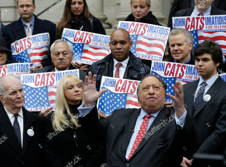 John Catsimatidis Surrounded by supporters, John Catsimatidis talks to the media during a news conference on the steps of City Hall in New York, . Catsimatidis announced his intention to run for New York City mayor. The Republican joins an increasingly crowded field of GOP, Democratic and other candidates seeking to succeed the term-limited, Democrat-turned-Republican-turned independent Bloomberg