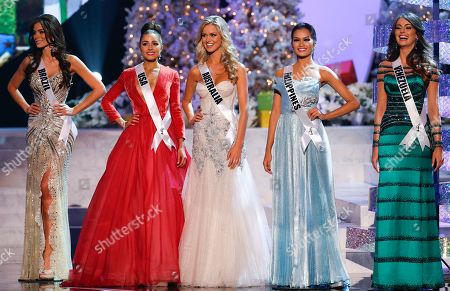 Stock Picture of Gabriela Markus, Olivia Culpo, Renae Ayris, Janine Tugonon, Irene Sofia Esser Quintero The remaining five contestants, from left, Miss Brazil, Gabriela Markus; Miss USA, Olivia Culpo; Miss Australia, Renae Ayris; Miss Philippines, Janine Tugonon; and Miss Venezuela, Irene Sofia Esser Quintero; stand together during the Miss Universe competition, in Las Vegas