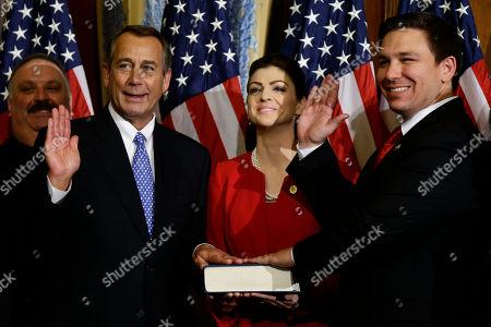 John Boehner, Ron DeSantis House Speaker John Boehner of Ohio performs a mock swearing in for Rep. Ron DeSantis, R-Fla., on Capitol Hill in Washington, as the 113th Congress began