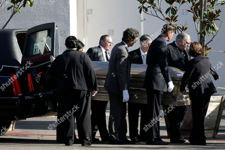 Pallbearers carry the casket of singer Patti Page during a memorial service, in Solana Beach, Calif. Page, one of the most popular singers of the 1950s, died Jan. 1 in Encinitas. She was 85