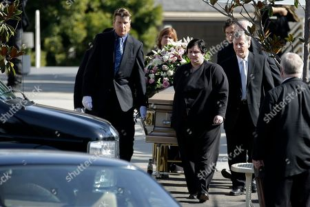 Stock Image of Pallbearers escort the casket of singer Patti Page during a memorial service, in Solana Beach, Calif. Page, one of the most popular singers of the 1950s, died Jan. 1 in Encinitas. She was 85