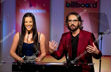 Gaby Espino, Miguel Varoni Gaby Espino, left, and Miguel Varoni host the Premios Billboard de la Musica Latina 2013 during a TV show in Miami, . After leading the 2012 list of finalists for the Billboard Latin Music Awards with 16 finalist nods, Don Omar returns in 2013 with 18 nods, including Artist of the Year; Social Artist of the Year and Streaming Artist of the Year. Following with 12 nods is bachata star Romeo Santos, while urban duo Wisin & Yandel and the late Jenni Rivera are tied with 11 nods each