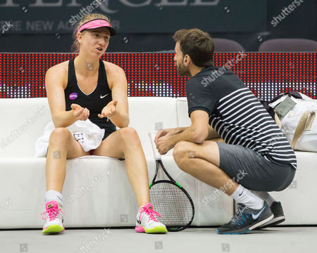 Mona Barthel (Ger) with her trainer Christopher Kas