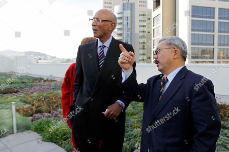 Dave Bing, Ed Lee Detroit Mayor Dave Bing, left, and San Francisco Mayor Ed Lee, right, stand in a rooftop garden and look at nearby construction during a visit to the headquarters of Twitter, in San Francisco. Bing made good on his World Series wager with Lee wherein the two vowed the leader of the losing team's city would tour economic ventures and perform some community service involving young people. The Giants swept the Tigers in four baseball games