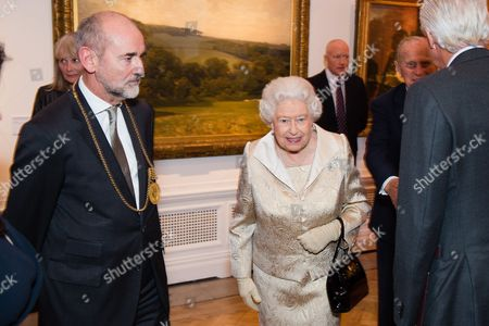 Christopher le Brun, President of the Royal Academy and Queen Elizabeth II attend a reception and awards ceremony at Royal Academy of Arts