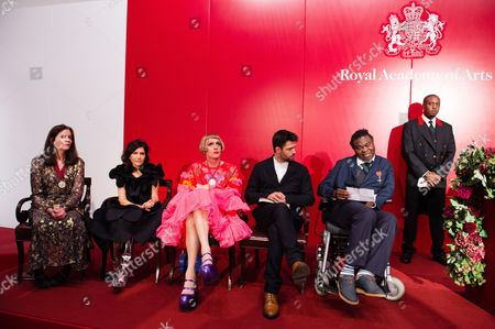 Chantal Joffe, Farshid Moussavi, Grayson Perry, Conrad Shawcross and Yinka Shonibare attend a reception and awards ceremony at Royal Academy of Arts