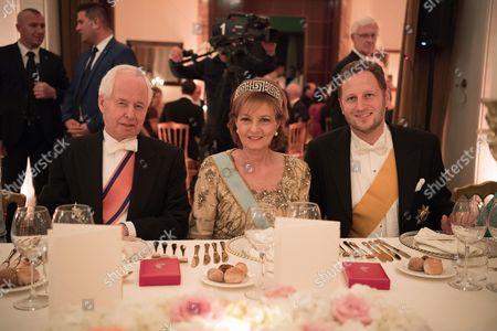 Stock Image of Prinz Philipp von und zu Liechtenstein, Crown Princess Margarita of Romania and Prince Georg Friedrich of Prussia