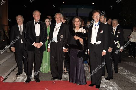 Frederic Mitterand, Stephane Bern, Prince Michel of Greece and Princess Marina of Greece