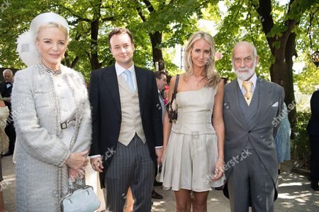 Prince Michael of Kent and Princess Michael of Kent with Lady Isabella Hervey and Frederick Hervey