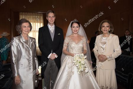 Crown Prince Leka II and Princess Elia with  Empress Farah Diba and Former Queen Sofia