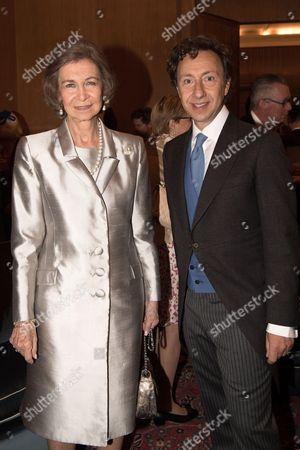 Former Queen Sofia and Stephane Bern