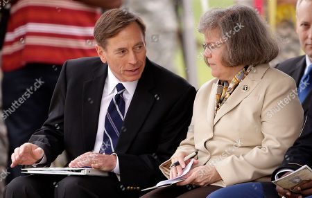 Stock Photo of David Petraeus, Holly Petraeus This photo shows CIA Director David Petraeus, left, and his wife, Holly, during a ceremony at Fort Campbell, Ky