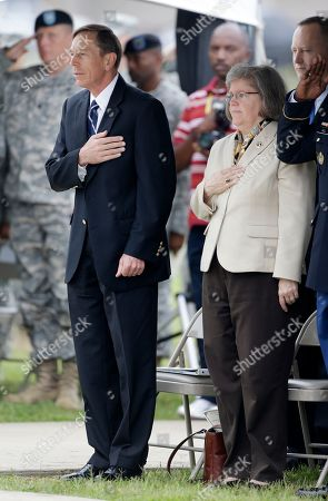 Stock Image of David Petraeus, Holly Petraeus This photo shows CIA Director David Petraeus, front left, and his wife, Holly, during a ceremony at Fort Campbell, Ky