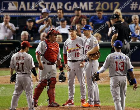Tony La Russa, Jose Altuve, Carlos Ruiz, David Wright, Starlin Castro National League manager Tony La Russa (10) comes up to the mound during the pitching change in the eighth inning of the MLB All-Star baseball game, in Kansas City, Mo. Players, from left, are Jose Altuve, of the Houston Astros, Carlos Ruiz, of the Philadelphia Phillies, David Wright, of the New York Mets, and Starlin Castro,of the Chicago Cubs