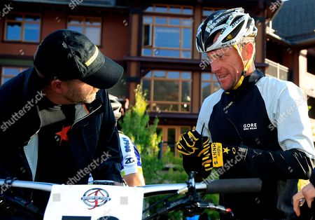 Lance Armstrong, Anna Hansen Lance Armstrong, center, prepares to take part in the Power of Four mountain bicycle race at the starting line in Snowmass Village, Colo., early . The race is the first public appearance for Armstrong since the U.S. Anti-Doping Association stripped him of his seven Tour de France championships and banned him for life from the sport