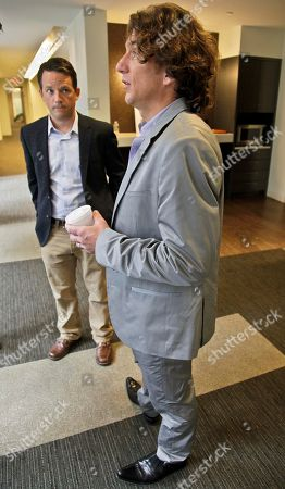 """Daniel Coyle, Tyler Hamilton Tyler Hamilton, right, and Daniel Coyle, co-authors of the new book """"The Secret Race,"""" chat following separate interviews on in New York"""