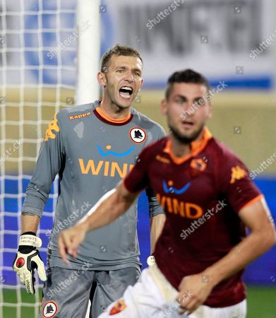 Bogdan Lobont AS Roma goalie Bogdan Lobont, left, of Romania, shouts to his players during the second half of an international friendly soccer match against El Salvador Friday, July, 27, 2012, in Harrison, N.J. AS Roma won 2-1