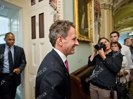 Timothy Geithner Treasury Secretary Timothy Geithner leaves a closed-door meeting with Senate Democrats on Capitol Hill in Washington, . Senate Banking Committee Chairman Sen. Tim Johnson, D-S.D. is asking Geithner, as well as Federal Reserve Chairman Ben Bernanke, to be prepared to answer questions at a Congressional hearing later this month about allegations of global interest rate manipulation
