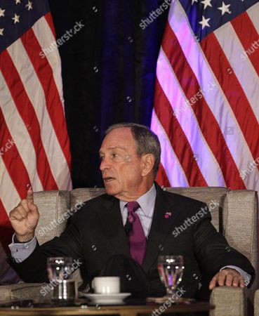 Stock Picture of Michael Bloomberg New York City Mayor Michael Bloomberg takes part in a discussion of economics and the politics of immigration with and former White House Chief of Staff William Daley during a meeting of The Chicago Economic Club, in Chicago