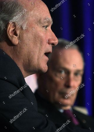 Stock Photo of Michael Bloomberg, William Daley Former White House Chief of Staff William Daley, left, and New York City Mayor Michael Bloomberg take part in a discussion economics and politics of immigration during a meeting of The Chicago Economic Club, in Chicago