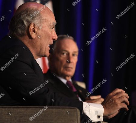 Stock Image of Michael Bloomberg, William Daley Former White House Chief of Staff William Daley, left, and New York City Mayor Michael Bloomberg take part in a discussion economics and politics of immigration during a meeting of The Chicago Economic Club, in Chicago