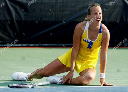 Sandra Zahlavova Sandra Zahlavova, of the Czech Republic, reacts to losing a point against Edina Gallovits-Hall, of Romania, during a match at the City Open tennis tournament, in Washington. Gallovits-Hall won 7-5, 4-6, 6-3