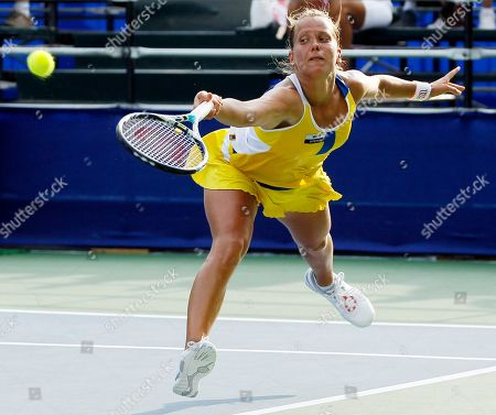 Sandra Zahlavova Sandra Zahlavova, of the Czech Republic, stretches to return a shot against Edina Gallovits-Hall, of Romania, during a match at the City Open tennis tournament, in Washington. Gallovits-Hall won 7-5, 4-6, 6-3