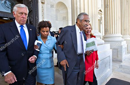 Steny Hoyer, Barbara Lee, Charles Rangel, Carolyn B. Maloney From left, Rep.Steny Hoyer, D-Md., Rep. Barbara Lee, D-Calif., Rep. Charles Rangel, D-NY, and Rep. Carolyn B. Maloney, D-NY, walk out of the Capitol, arm-in-arm, as members of the Congressional Black Caucus and many House Democrats protest the vote to hold Attorney General Eric Holder in contempt, in Washington