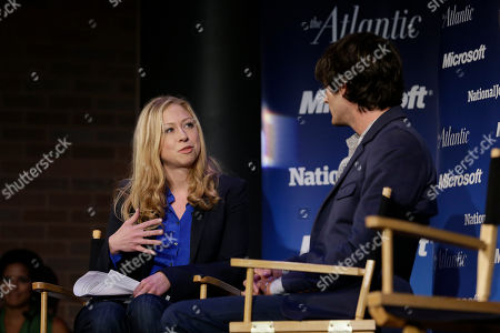 """Chelsea Clinton moderates a town-hall style meeting called """"Conversations With the Next Generation,"""" as MTV's Andrew Jenks listens, in Charlotte, N.C., during the second day of the Democratic National Convention"""