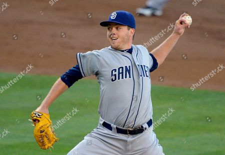 Andrew Werner San Diego Padres pitcher Andrew Werner throws to the plate during the first inning of their baseball game against the Los Angeles Dodgers, in Los Angeles