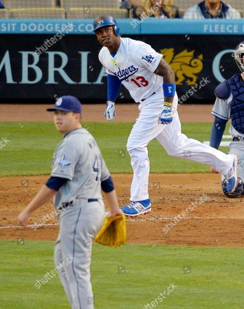 Hanley Ramirez, Andrew Werner Los Angeles Dodgers' Hanley Ramirez, right, watches his ball go out for a solo home run along with San Diego Padres pitcher Andrew Werner during the sixth inning of their baseball game, in Los Angeles