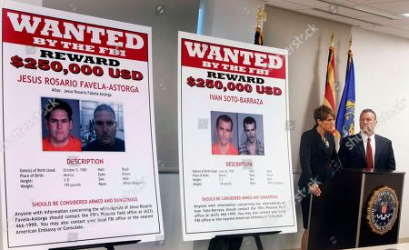 James L. Turgal, Jr., Laura E. Duffy With wanted posters off to the side, Laura E. Duffy, United States Attorney Southern District of California, and FBI Special Agent in Charge, James L. Turgal, Jr., right, announce the indictments on five suspects involved in the death of U.S. Border Patrol agent Brian Terry in Tucson, Ariz. Two men convicted of first-degree murder in the killing of a Border Patrol agent whose death brought to light a bungled federal gun-tracking operation known as Fast and Furious were set to be sentenced Wednesday, Drec. 9, 2015, in Arizona. Jesus Leonel Sanchez-Meza and Ivan Soto-Barraza face mandatory life sentences on the murder charges plus an extra 20 years for each of several other counts for which they were convicted in October
