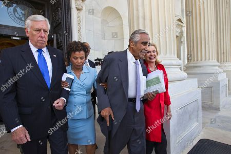 Steny Hoyer, Barbara Lee, Charles Rangel, Carolyn B. Maloney From left, House Minority Whip Steny Hoyer of Md., Rep. Barbara Lee, D-Calif., Rep. Charles Rangel, D-NY, and Rep. Carolyn B. Maloney, D-NY, walk out of the Capitol, arm-in-arm, as members of the Congressional Black Caucus and many House Democrats protest the vote to hold Attorney General Eric Holder in contempt, on Capitol Hill in Washington
